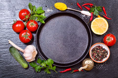 Food ingredients for cooking with empty pan Stock Image