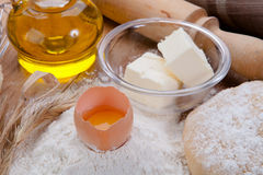 Food ingredients. Egg, flour, cooking oil for baking Royalty Free Stock Photography