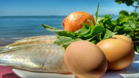 Food ingredients. Fish, eggs, onion and herbals royalty free stock photo