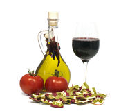 Food ingredients and glas of wine Stock Photography