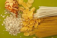 Food ingredients on green Stock Images