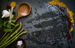Food ingredients including asparagus and garlic  Stock Photos