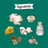 Food ingredients item illustrations Stock Photo