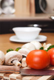 Food ingredients on kitchen table Stock Photography