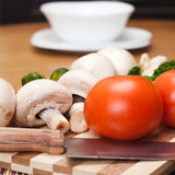Food ingredients on the kitchen table Stock Images