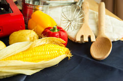 Food Ingredients With Kitchen Utensils For Cooking Royalty Free Stock Images