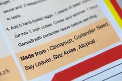 Food ingredients label. On plastic food packaging Stock Image