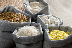Food ingredients in linen bags Royalty Free Stock Image