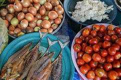 Food ingredients at market. Food and ingredients at the thai market royalty free stock photo