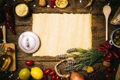 Food ingredients mediterranean diet on old wooden table. Royalty Free Stock Photography
