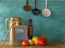 Food ingredients with menu blackboard Stock Photos