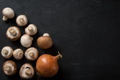 Food Ingredients Mushroom Onion Stock Image