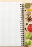 Food ingredients and paper Stock Photography