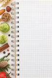 Food ingredients and paper Stock Photo