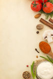 Food ingredients and paper Royalty Free Stock Photo