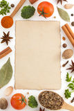 Food ingredients and paper on white. Background Royalty Free Stock Photo