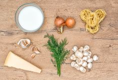 Food ingredients for pasta. Food ingredients for pasta with mushrooms Stock Photos