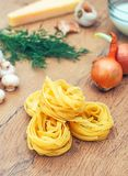 Food ingredients for pasta. Food ingredients for pasta with mushrooms Stock Image