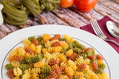 Food Ingredients for pasta on a wood background. Royalty Free Stock Photography