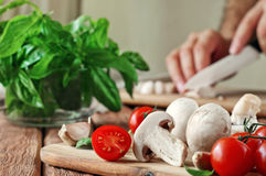 Food ingredients for pizza or pasta dishes Royalty Free Stock Photography