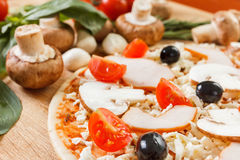 Food ingredients for pizza on table close up Stock Image