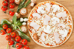 Food ingredients for pizza on table close up Royalty Free Stock Photography