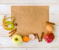 Food ingredients for the preparation apple pie Stock Image