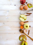 Food ingredients for the preparation apple pie Stock Photos