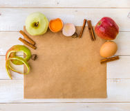 Food ingredients for the preparation apple pie Stock Images