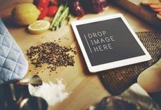 Food Ingredients Preparing Cooking Tablet Concept Stock Photo