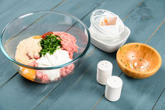 Food Ingredients For Preparing Meatballs On Table Royalty Free Stock Photo