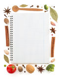 Food ingredients and recipe book Royalty Free Stock Photography
