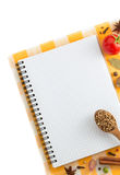 Food ingredients and recipe book Royalty Free Stock Images