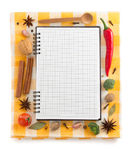 Food ingredients and recipe book Stock Images