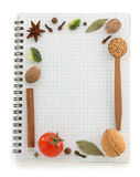 Food ingredients and recipe book Stock Image