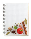 Food ingredients and recipe book Stock Photos