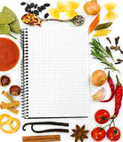 Food ingredients and recipe book Royalty Free Stock Image