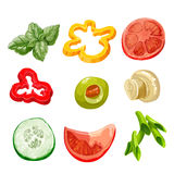 Food ingredients Series 2 - bell pepper, olive, basil, marinated Stock Images