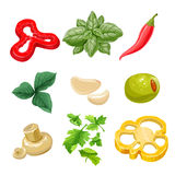 Food ingredients Series 1 - yellow bell pepper, olive Stock Images