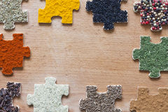 Food ingredients spices and puzzle diet  concept Stock Photos