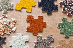 Food ingredients spices and puzzle diet  concept Stock Photography