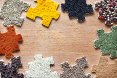 Food ingredients spices and puzzle diet concept royalty free stock images