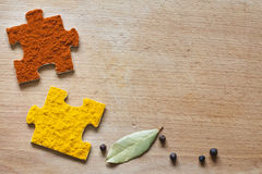 Food ingredients spices and puzzle diet  concept Royalty Free Stock Image