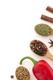 Food ingredients and spices on white background Royalty Free Stock Images