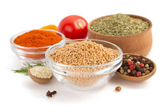 Food ingredients and spices on white Stock Images