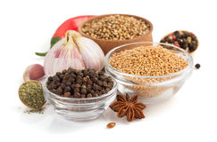 Food ingredients and spices on white Royalty Free Stock Photo