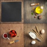 Food ingredients and spices at wooden table royalty free stock image