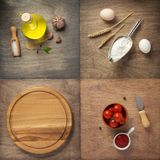 Food ingredients and spices at wooden table royalty free stock photography