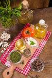 Food ingredients in studio. Some fresh food ingredients in studio on wooden background Royalty Free Stock Image