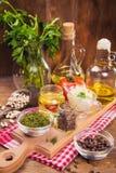 Food ingredients in studio. Some fresh food ingredients in studio on wooden background Royalty Free Stock Photos